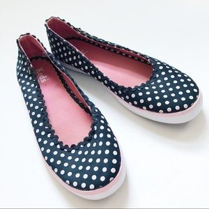 Keds Black & Pink polka dot slip on sneakers 8.5